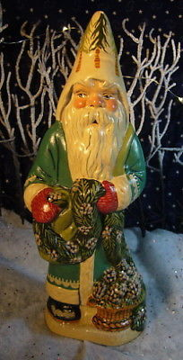 Vaillancourt Folk Art Santa Unwrapping Colonial Garland Signed Judi Vaillancourt