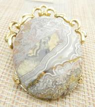 White Gray Pink Purple Crinoid Gold Tone Necklace Pendant Vintage - $19.79