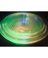 Green Glass Vaseline Uranium Optic Pattern 3 Mixing Bowls Ribbed Rolled ... - $81.18