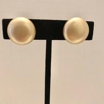 Vintage Cream Faux Pearl Screw Clip On Button Earrings J6523 - $12.34