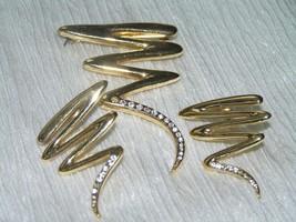 Estate Demi Goldtone Zig Zag Swirl with Clear Rhinestone Accents Pin Brooch - $9.85