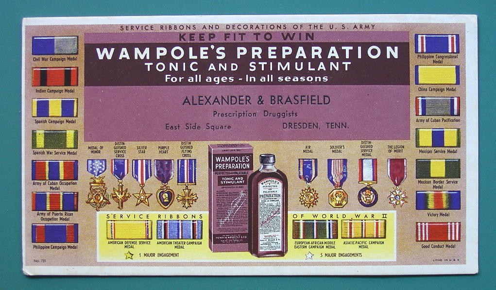 INK BLOTTER AD 1950s - US ARMY Ribbons Medals & Wampole's Tonic Dresden TN