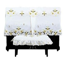 Embroidery Piano Cover Dustproof Protection Cover Piano Chair Cover Sunflower