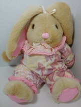 Goffa tan Bunny Rabbit Plush pink ears floral flowers outfit ribbons lac... - $19.79