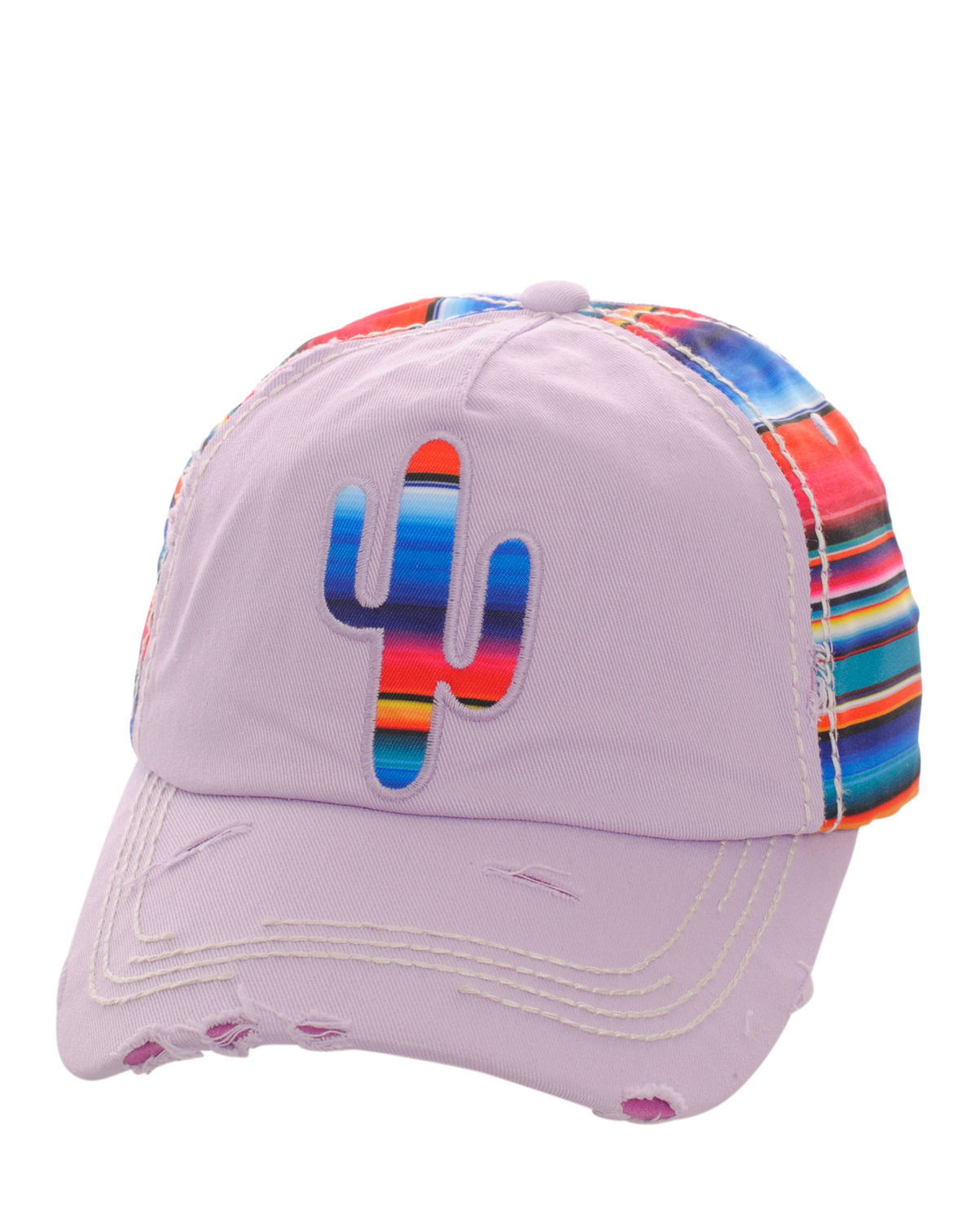 Colorful Serape Striped Cactus Distressed Baseball Cap Hat Adjustable Lite Purpl