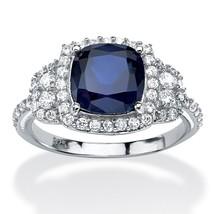 PalmBeach Jewelry 1.36 TCW Blue Sapphire Platinum over .925 Silver Halo ... - €46,19 EUR