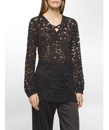 New Womens NWT Designer Calvin Klein Lace Blouse Tie Up XL Black Flowers... - $118.00