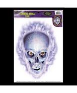 Emo Gothic Horror Prop-FLAMING SKULL CLING-Car Window Decal Halloween De... - $4.92