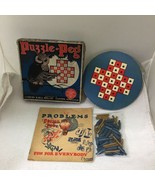 1929 Puzzle-Peg Lubbers & Bell Clinton Iowa Game Board Pegs & Box T109 - $18.32