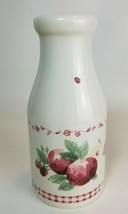 Pfaltzgraff DELICIOUS Milk Bottle Vase Red Country Apple Gingham 8 1/4inch USA - $13.81