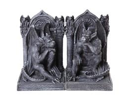 Gothic Thinker Gargoyle Sculpture Stone Finish Book Ends Set 6.75 Inches... - $49.49