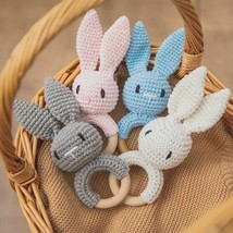 Wooden Crochet Ring Baby Teether Animal Rattle Chewing Nursing Soother N... - $23.72