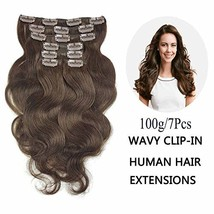 SHOWJARLLY Wavy Dark Brown Clip in Extensions Body Wave (20inch|#2(Dark ... - $73.42