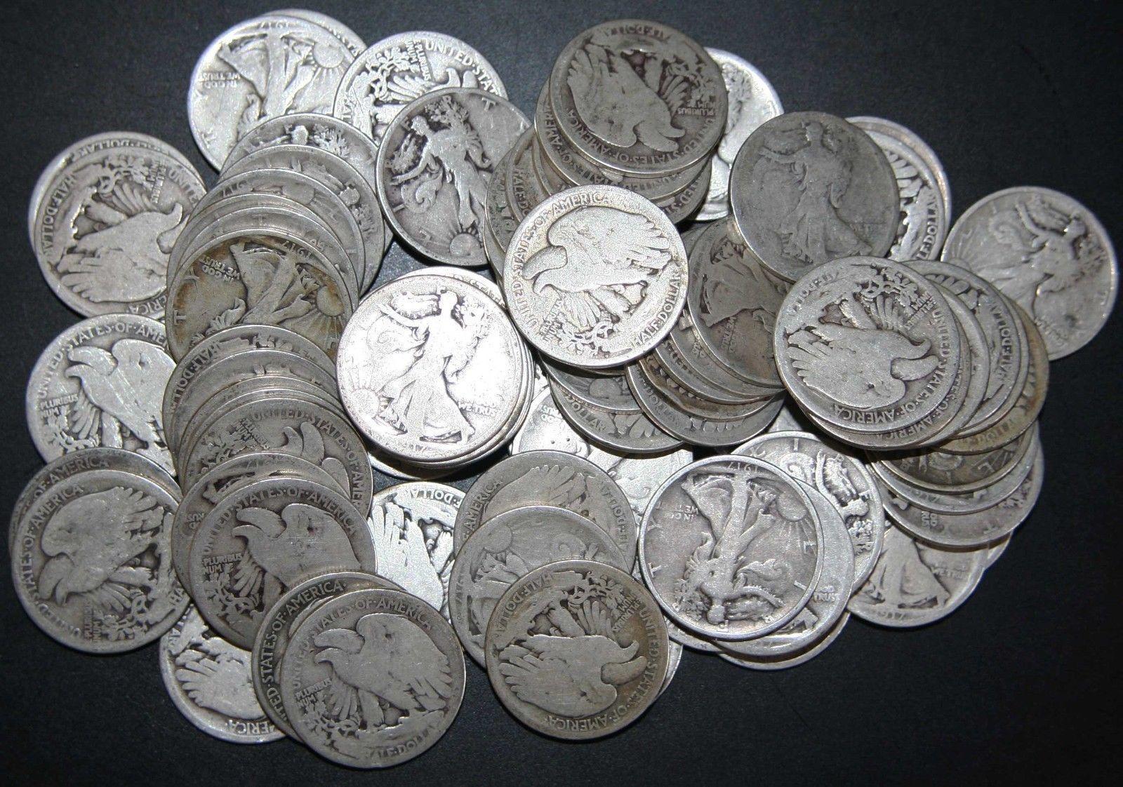 ( 100 COINS ) - ALL 1917 Walking Liberty Half Dollar 90% Silver Lot# N 518