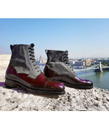 Superior Genuine Leather Maroon Gray Rounded Cap Toe High Ankle Casual M... - $149.99+