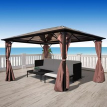 Garden Gazebo Pavilion Canopy Marquee Party Reception Tent Brown 10'x10'... - $712.99+