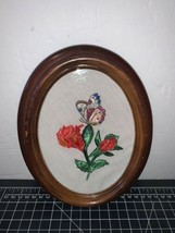 Vintage Embroidered Needlepoint Floral Roses And Butterfly Oval Glass Fr... - £20.90 GBP
