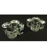 ACC Crystal Taper Candle Holders 3in x 3in x 1 1/2in Qty 2 Vintage Crystal - $20.21