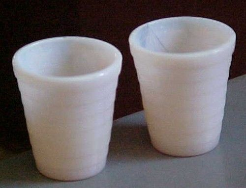 """2--Akro Agate child's tumblers-concentric rib-pale pink marbleized/luster-2""""ht - $12.45"""
