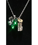 Lucky charms necklace cat Chinese coin four leaf clover new 18 inch chain - $20.00