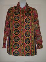 Vintage 70's Zip Shirt Top Point Collar Antron Nylon Size 12 Hippie Mod ... - $46.46