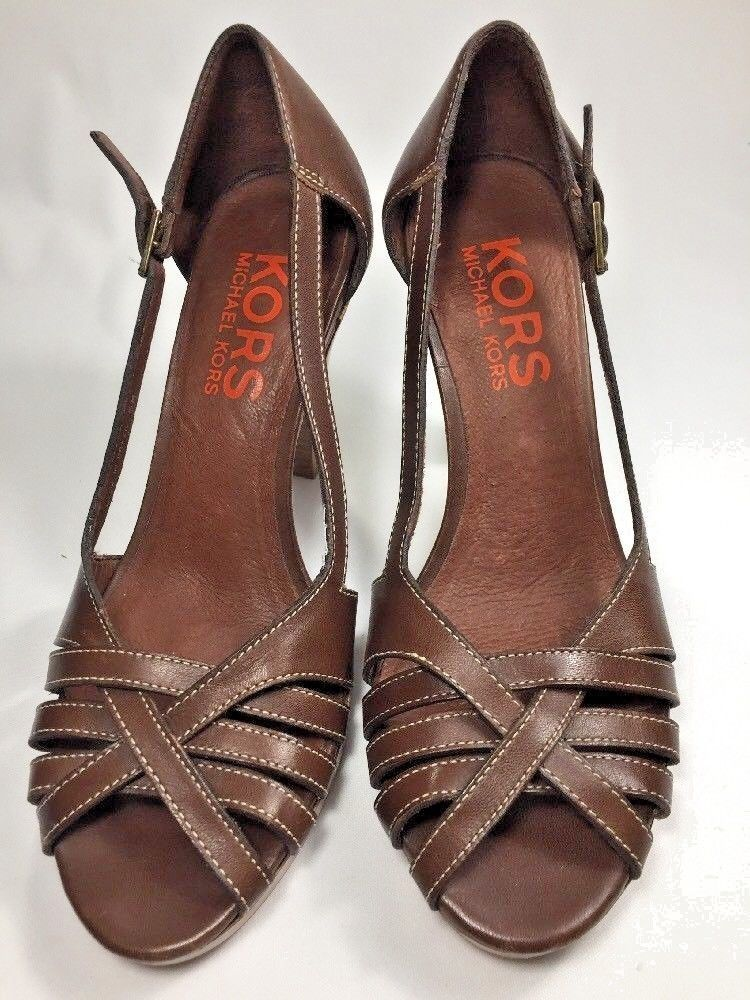 Primary image for Michael Kors Brown Cross Toe Cute Heels Shoes Size 6 Orange Label Buckle