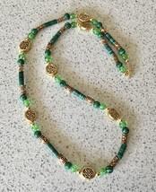 Celtic Green Malachite Beaded Necklace - $8.50