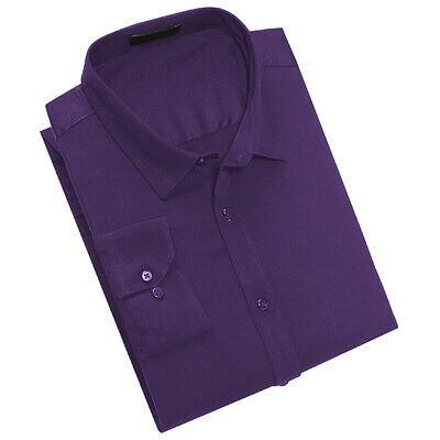Men's Classic Fit Long Sleeve Button Down Purple Lightweight Dress Shirt - M