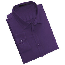 Men's Classic Fit Long Sleeve Button Down Purple Lightweight Dress Shirt - M