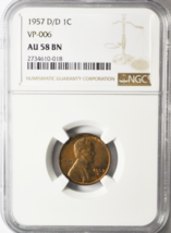 1957 D/D 1c Lincoln Wheat One Cent Penny VP-006 AU58 BN NGC - $64.14