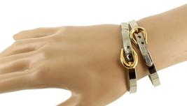 """Vintage Mod Silver & Gold Tone Belt Buckle Bangle Bracelets Adj. 6.25""""-7"""" image 2"""