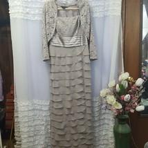 Jessica Howard Silver/Gray Long Tiered Chiffon Lace top Jacket Dress Womens - $87.08