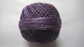 Dark Orchid with Silver Lurex - 20 grams Cotton Thread Yarn - Crochet Kn... - $4.70