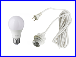 NEW Modern Cord Set with LED Bulb White Textile... - $26.99