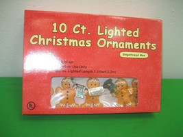 10 Ct. Vintage Christmas Ornaments Gingerbread Man Lights - $19.55