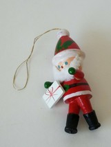 Miniature Santa With Gift Christmas Ornament Hanging - $9.69
