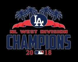 Los Angeles Dodgers NL West 2018 Champions Image Men's T-Shirts - $24.74