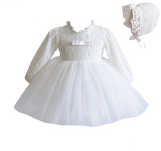 Long Sleeve Lace Christening Party Dress and Bonnet White Ivory 0-3 to 1... - $27.80