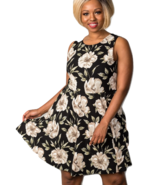 Plus size floral cross back mini sleeveless dress - $21.99