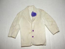 1983 Crystal Ken Doll Clothes White Tuxedo Jacket Tux Coat purple flower - $3.99