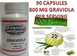 90 Capsules Graviola Extract 400 Mg /1 CAP 800 Mg Serving Size Guanabana - $8.02