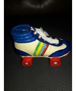Vintage Piggy Bank Retro Blue/White Color Roller Skate with Fabric Laces... - $21.78
