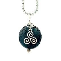 Lava Stone Diffuser Necklace Charms Celtic Triskelion Knot - $23.71
