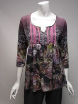 One World 3/4 Sleeve BOHO Violet Floral Top Shirt NWT Sz S, M, L , XL - $16.81