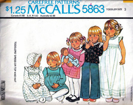 Vintage 1977 McCall's #5863 DRESS or TOP & HAT Toddler Size 3 - $8.99
