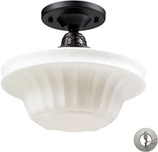 Elk Lighting 66221-1-LA Quinton Parlor 1 Light Oiled Bronze and White Gl... - $226.00