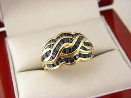 10K YELLOW GOLD 2.TCW BLUE SAPPHIRE BRAIDED RING,SIZE 7  # 115 - $230.30