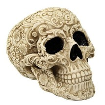 Skull Engraved with Floral Patterns Collectible... - $23.75