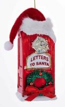 "KURT ADLER ""LETTERS TO SANTA"" RED MAILBOX w/SANTA HAT GLASS CHRISTMAS OR... - $10.88"
