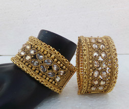 Indian Jewelry Ethnic 2.8 Polki Kundan Bangles Lockable Golden Cuff Brac... - $36.57